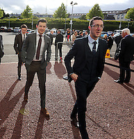Pictured L-R: Jack Wells and Ben Donovan arrives Wednesday 20 May 2015<br /> Re: Swansea City FC Awards Dinner at the Liberty Stadium, south Wales, UK