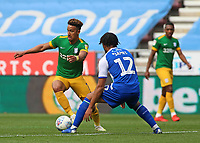 Preston North End's Callum Robinson tries to find a way past Wigan Athletic's Reece James<br /> <br /> Photographer David Shipman/CameraSport<br /> <br /> The EFL Sky Bet Championship - Wigan Athletic v Preston North End - Monday 22nd April 2019 - DW Stadium - Wigan<br /> <br /> World Copyright © 2019 CameraSport. All rights reserved. 43 Linden Ave. Countesthorpe. Leicester. England. LE8 5PG - Tel: +44 (0) 116 277 4147 - admin@camerasport.com - www.camerasport.com