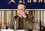 February 28th, 2012 : Tokyo, Japan – Katsunoba Onda appeared at the Foreign Correspondants Club of Japan today to discuss his findings about the Fukushima Dai Ichi nuclear disaster and Tokyo Electric Power Company and the nuclear industry in Japan. Onda has been reporting on the nuclear industry for 30 years. He feels that the workers in Fukushima are poorly protected and poorly paid for their work. He spoke of the nuclear mafia and the links between Japan's nuclear industry and the yakuza. (Photo by Yumeto Yamazaki/AFLO)