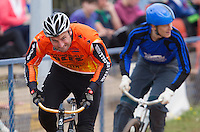13 SEP 2014 - IPSWICH, GBR - Lee Aris from Wednesfield Aces Cycle tries to escape the following competitors during a heat in the first semi final of the 2014 British Open Club Cycle Speedway Championships at Whitton Sports & Community Centre in Ipswich, Great Britain (PHOTO COPYRIGHT © 2014 NIGEL FARROW, ALL RIGHTS RESERVED)