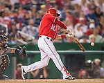 23 July 2016: Washington Nationals General Manager Stephen Drew hits a  pinch-hit, walk-off triple, scoring Anthony Rendon in the bottom of the 9th inning, as the Nationals take the second game of their 3-game series 3-2 against the San Diego Padres at Nationals Park in Washington, DC. The win ties their series at one game apiece. Mandatory Credit: Ed Wolfstein Photo *** RAW (NEF) Image File Available ***