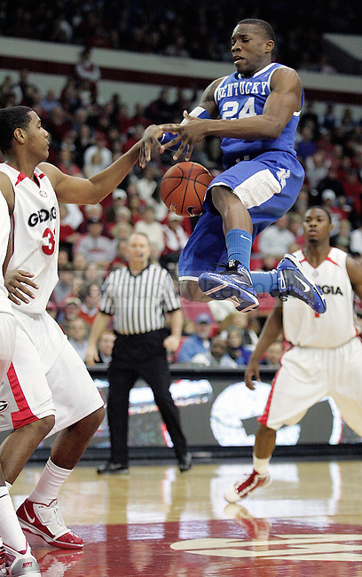 Freshman guard Eric Bledsoe loses control of the ball going in for a lay up in the first half of UK's 80-68 win over Georgia at Stegeman Coliseum  in Athens, GA on Wednesday, March 3, 2010. Photo by Britney McIntosh | Staff