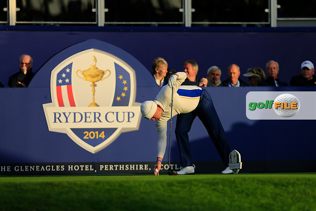 Lee Westwood (EUR) during the Saturday morning Fourballs of the 2014 Ryder Cup at Gleneagles. The 40th Ryder Cup is being played over the PGA Centenary Course at The Gleneagles Hotel, Perthshire from 26th to 28th September 2014.: Picture Thos Caffrey, www.golffile.ie: \27/09/2014\