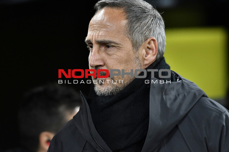 14.02.2020, Signal Iduna Park, Dortmund, GER, 1. BL, Borussia Dortmund vs Eintracht Frankfurt, DFL regulations prohibit any use of photographs as image sequences and/or quasi-video<br /> <br /> im Bild / picture shows / Adi Huetter / Hütter  (Eintracht Frankfurt) Portrait, Halbportrait, Bild, Einzel, Einzelaufnahme, picture, single, solo, alleine <br /> <br /> Foto © nordphoto/Mauelshagen