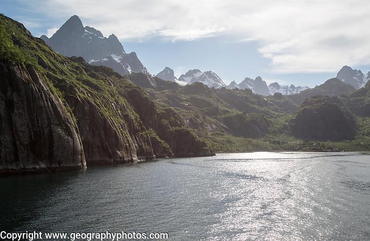 Steep sided glacial trough fiord of Trollfjorden, Lofoten Islands, Nordland, northern, Norway
