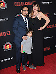 Michael Peña and family attends The  Cesar Chavez Los Angeles Premiere held at TCL Chinese Theatre in Hollywood, California on March 20,2014                                                                               © 2014 Hollywood Press Agency
