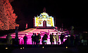 04/10/14 <br /> <br /> Visitors admire the Cascade.<br /> <br /> Luminaire returns to Chatsworth Hose. <br /> <br /> In the garden an illuminated trail leads the way, inspired by the drawings of Inigo Jones. Moments from the Masque of Oberon, The Fairy Prince, feature along the trail, with lighting, projections and music.<br /> <br /> A selection of drawings from the Masque, illustrated by Inigo Jones (1611) and other colourful drawings by Inigo Jones will be displayed in the Great Chamber. Not seen in over 40 years, these drawings along with music bring the Baroque house to life.<br /> <br /> Luminaire in the house and garden is open each evening until October 7th.<br /> <br /> All Rights Reserved - F Stop Press.  www.fstoppress.com. Tel: +44 (0)1335 300098