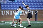 Samantha Herman (11) of the High Point Panthers prepares to draw against Marie McCool (4) of the North Carolina Tar Heels at Vert Track, Soccer & Lacrosse Stadium on February 16, 2018 in High Point, North Carolina.  The Tar Heels defeated the Panthers 14-10.  (Brian Westerholt/Sports On Film)