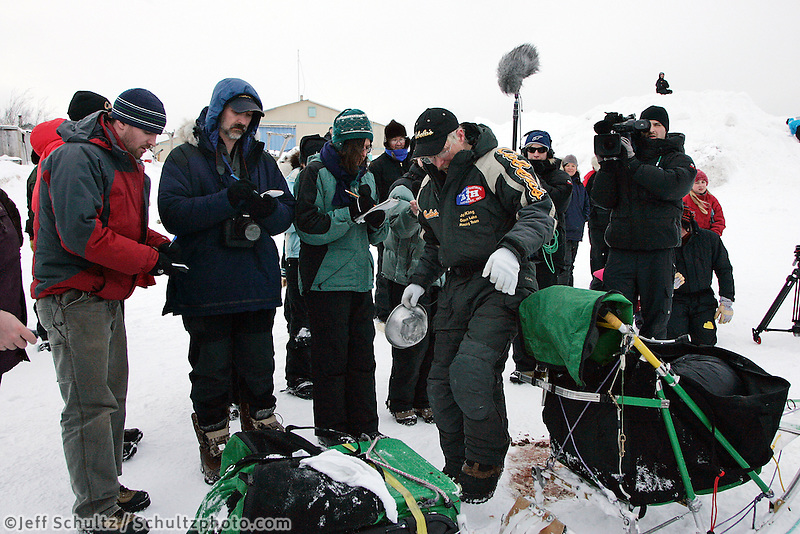 Reporters interview Jeff King before he leaves Unalakleet on Sunday evening.