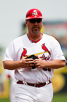 Coach Phillip Wellman (30) of the Springfield Cardinals during a game against the Arkansas Travelers on May 10, 2011 at Hammons Field in Springfield, Missouri.  Photo By David Welker/Four Seam Images.
