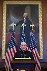 May 22, 2013; University President Emeritus Rev. Theodore M. Hesburgh, C.S.C. speaks during a special reception celebrating his 96th birthday, hosted by House Democratic leader Nancy Pelosi in the Rayburn Room of the U.S. Capitol. The reception was also held to a honor his 70th anniversary as a priest of the Congregation of Holy Cross. Photo by Barbara Johnston/University of Notre Dame