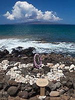 Ku'ula Stone, a fisherman's shrine off the coastal walkway in Wailea, Maui