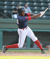 Photo of the Rome Braves, Class A affiliate of the Atlanta Braves, in the first game of a doubleheader against the Greenville Drive on August 15, 2011, at Fluor Field at the West End in Greenville, South Carolina. (Tom Priddy/Four Seam Images)