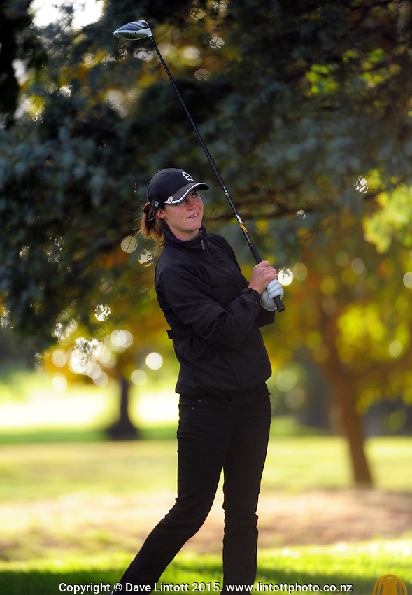 Leanne Brown in action during day one of the Charles Tour Lawnmaster Classic Manawatu Open at Manawatu Golf Club, Palmerston North, New Zealand on Thursday, 19 March 2015. Photo: Dave Lintott / lintottphoto.co.nz