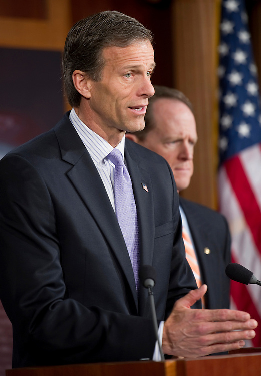 "UNITED STATES - FEBRUARY 16: Sen. John Thune, R-S.D.; and Sen. Pat Toomey, R-Pa., speak at a press conference ""to discuss four bipartisan House-passed jobs bills currently being blocked by the Senate Democrat leadership.""(Photo By Chris Maddaloni/CQ Roll Call)"