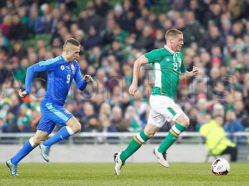 29.03.2016. Aviva Stadium, Dublin, Ireland.  International Football Friendly Ireland versus Slovakia. James McCarthy (Rep. of Ireland) gets away from Stanislav Sestak (Slovakia).