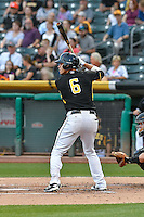 Angel Rosa (6) of the Salt Lake Bees at bat against the Albuquerque Isotopes in Pacific Coast League action at Smith's Ballpark on August 30, 2016 in Salt Lake City, Utah. The Bees defeated the Isotopes 3-2. (Stephen Smith/Four Seam Images)