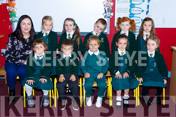 Evelyn O'Reilly with her junior infant class in Loreto NS on Tuesday front row: Malen Etxeberria, lucas Uchytil, Ella Zuvawska, Seodhna O'Sullivan and Lusy Myles. Back row: Evelyn O'Reilly, Erica Maloney, Emily O'Shea, Luke Murphy, Elodie Healy and Evie Doolan