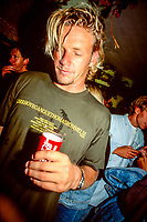Rock Food cafe in Hossegor France. Luke Egan (AUS) at the Rock Food Cafe during the Rip Curl Pro Hossegor in the South West region of France. circa 1992 Photo: joliphotos.com