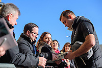 Lincoln City's Matt Rhead signs autographs as he arrives at the ground<br /> <br /> Photographer Chris Vaughan/CameraSport<br /> <br /> Emirates FA Cup First Round - Lincoln City v Northampton Town - Saturday 10th November 2018 - Sincil Bank - Lincoln<br />  <br /> World Copyright &copy; 2018 CameraSport. All rights reserved. 43 Linden Ave. Countesthorpe. Leicester. England. LE8 5PG - Tel: +44 (0) 116 277 4147 - admin@camerasport.com - www.camerasport.com