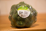 Broccoli head wrapped in plastic film with Tesco product label close up