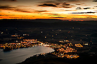 Lake Wanaka and its township as seen from Roys Peak at dawn, Central Otago, New Zealand
