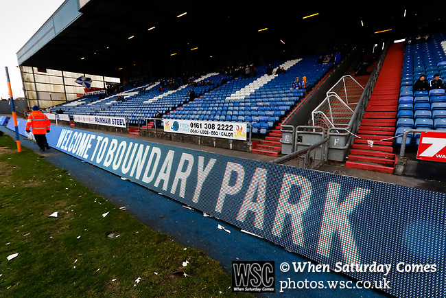 Welcome to Boundary Park sign. The ground was officially renamed Boundary Park after being known as the Sports Direct Stadium, for sponsorship purposes. Oldham v Portsmouth League 1