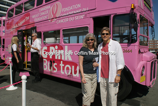 Grant Aleksander and wife Sherry board the Big Pink Bus to see the Reversing Falls Rapids - Day 2 - August 1, 2010 - So Long Springfield at Sea - A day in port in Saint John, New Brunswick, Canada from the Carnival's Glory (Photos by Sue Coflin/Max Photos)