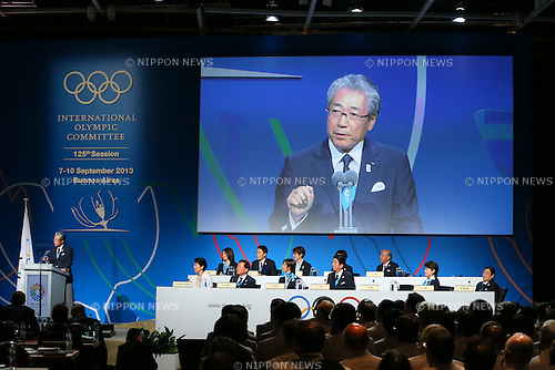 Tsunekazu Takeda, <br /> SEPTEMBER 7, 2013 : <br /> Japan Olympic Committee President Tsunekazu Takeda speaks during the 2020 Summer Olympic Games bid fianl presentation during the 125th International Olympic Committee (IOC) session in Buenos Aires Argentina, on Saturday September 7, 2013. <br /> (Photo by YUTAKA/AFLO SPORT) [1040]