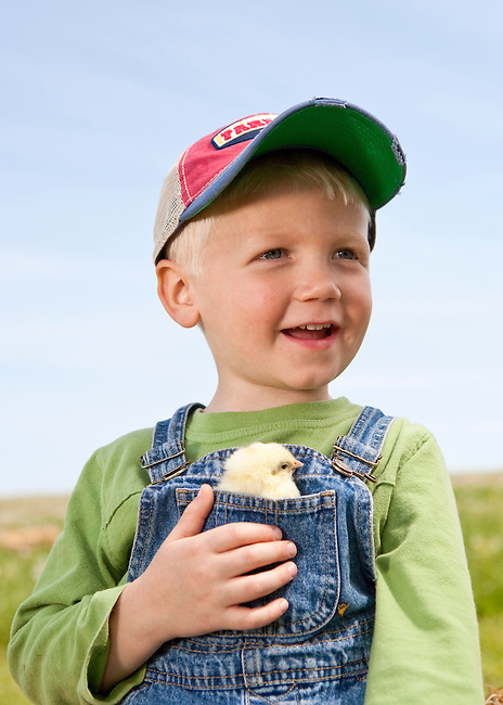 Portrait of happy boy 3-6 years in ball cap and overalls with young chick in his front pocket