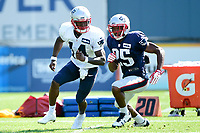 August 1, 2017: New England Patriots defensive back Eric Rowe (25) tries to cover wide receiver Brandon Cooks (14) at the New England Patriots training camp held at Gillette Stadium, in Foxborough, Massachusetts. Eric Canha/CSM