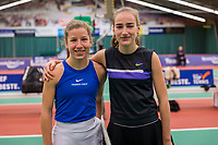 Wateringen, The Netherlands, December 8,  2019, De Rhijenhof , NOJK juniors 14 and18 years, Finals  girls 14 years Isis van den Broek NED) (L) and Annelin Bakker (NED)	<br /> <br /> Photo: www.tennisimages.com/Henk Koster