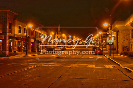 HDR image of Main Street in Menomonee Falls Wisconsin at night