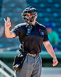 18 July 2018: MiLB Umpire Mike Savakinas works Home Plate during a game between the New Hampshire Fisher Cats and the Trenton Thunder at Northeast Delta Dental Stadium in Manchester, NH. The Fisher Cats defeated the Thunder 3-2 in a 7-inning, second game of the day. Mandatory Credit: Ed Wolfstein Photo *** RAW (NEF) Image File Available ***