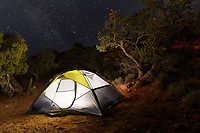 Camping tent under the stars, Hunts Mesa, Monument Valley Tribal Park, Arizona