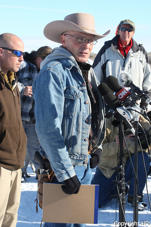 LaVoy Finicum, spokesman for the armed activists speaks during a press conference at the Malheur National Wildlife Reserve on January 15, 2016 in Burns, Oregon.  Ammon Bundy and about 20 other protesters took over the refuge on Jan. 2 after a rally to support the imprisoned local ranchers Dwight Hammond Jr., and his son, Steven Hammond.      Photo by Jim Bryant/UPI