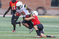 College Park, MD - April 22, 2017: Maryland Terrapins wide receiver DJ Turner (10) gets tackled during game the Maryland Spring Game at  Capital One Field at Maryland Stadium in College Park, MD.  (Photo by Elliott Brown/Media Images International)