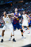 Ante Tomic (r) and Jordan Mickey during Real Madrid vs FC Barcelona final of Supercopa Endesa. September 22, 2019. (ALTERPHOTOS/Francis González)