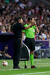 Atletico de Madrid's coach Diego Pablo Simeone have words with the fouth referee during La Liga match. August 25, 2018. (ALTERPHOTOS/A. Perez Meca)