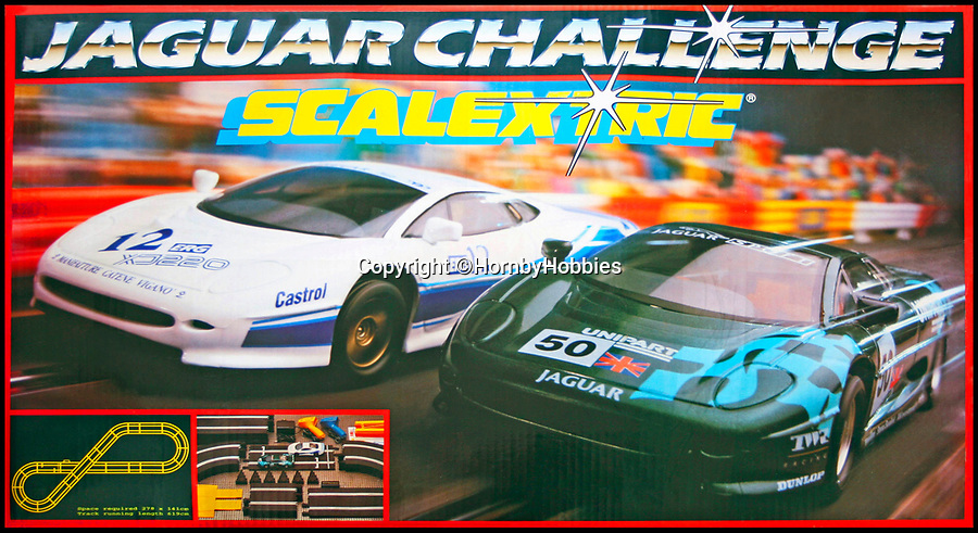BNPS.co.uk (01202 558833)Pic: HornbyHobbies/BNPS<br /> <br /> 1997 C1003 Jaguar Challenge Scalextric set<br /> <br /> These fascinating photos tell the story of 60 years of Scalextric which grew from humble beginnings into a British institution. <br /> <br /> When enterprising Freddie Francis launched the car racing toy in 1957 at his factory in Havant, Hants, he could never have known they would still be a household name 60 years later.<br /> <br /> Today, Scalextric are produced by English toy maker Hornby Hobbies and demand for the much-loved slot cars is still as strong as ever.