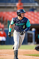 Lynchburg Hillcats third baseman Alexis Pantoja (6) runs to first base during the first game of a doubleheader against the Frederick Keys on June 12, 2018 at Nymeo Field at Harry Grove Stadium in Frederick, Maryland.  Frederick defeated Lynchburg 2-1.  (Mike Janes/Four Seam Images)