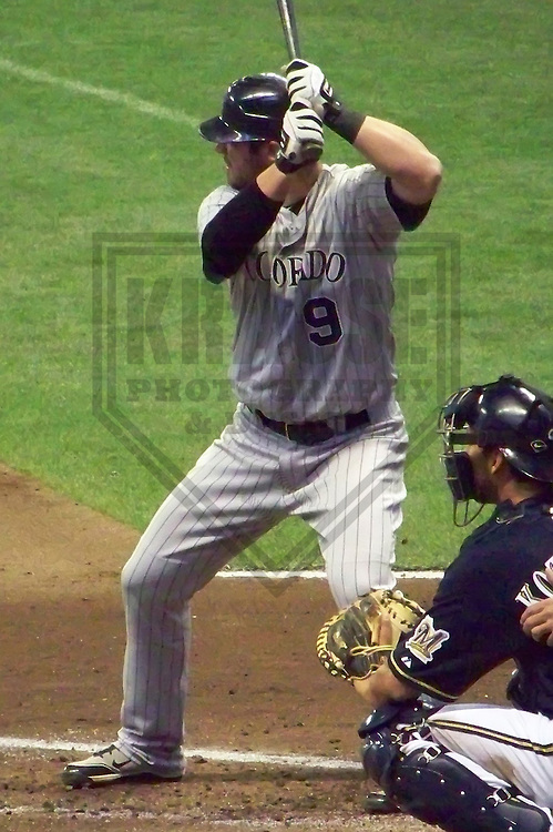 MILWAUKEE - APRIL 2010: Ian Stewart of the Colorado Rockies in action during a game on April 7, 2010 at Miller Park in Milwaukee, Wisconsin. (Photo by Brad Krause)