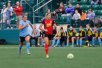 Rochester, NY - Saturday May 21, 2016: Sky Blue FC defender Erica Skroski (8) chases Western New York Flash forward Lynn Williams (9). The Western New York Flash defeated Sky Blue FC 5-2 during a regular season National Women's Soccer League (NWSL) match at Sahlen's Stadium.