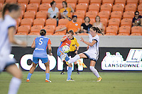 Houston, TX - Saturday July 16, 2016: Cari Roccaro, Becca Moros, Celeste Boureille during a regular season National Women's Soccer League (NWSL) match between the Houston Dash and the Portland Thorns FC at BBVA Compass Stadium.