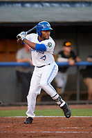 Bluefield Blue Jays left fielder D.J. Daniels (6) at bat during the second game of a doubleheader against the Bristol Pirates on July 25, 2018 at Bowen Field in Bluefield, Virginia.  Bristol defeated Bluefield 5-2.  (Mike Janes/Four Seam Images)