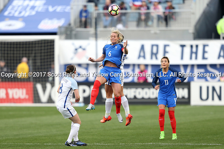 CHESTER, PA - MARCH 01: Amandine Henry (FRA) (6) and Millie Bright (ENG) (behind) challenge for a header. The England Women's National Team played the France Women's National Team as part of the She Believes Cup on March, 1, 2017, at Talen Engery Stadium in Chester, PA. The France won the game 2-1.