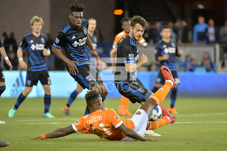 San Jose, CA - Saturday April 14, 2018: Vako, Romell Quioto during a Major League Soccer (MLS) match between the San Jose Earthquakes and the Houston Dynamo at Avaya Stadium.