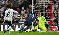 Phil Jones (Manchester United) of England and Goalkeeper Jordan Pickford (Everton) of England stop a Leroy Sane (Manchester City) of Germany shot during the International Friendly match between England and Germany at Wembley Stadium, London, England on 10 November 2017. Photo by Andy Rowland.