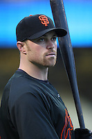 Nate Schierholtz of the San Francisco Giants during batting practice before a game from the 2007 season at Dodger Stadium in Los Angeles, California. (Larry Goren/Four Seam Images)