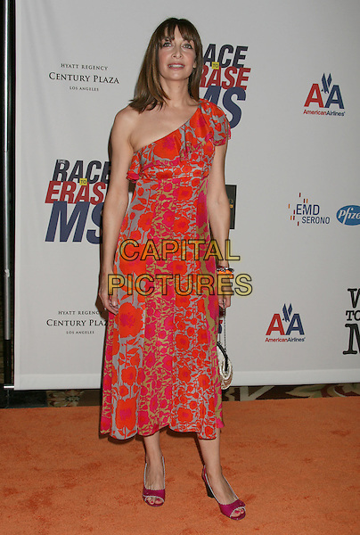 ILLEANA DOUGLAS .15th Annual Race To Erase MS held at the Hyatt Regency Plaza Hotel, Century City, California, USA..May 2nd, 2008.full length dress red one shoulder grey gray pattern.CAP/ADM/RE.©Russ Elliot/AdMedia/Capital Pictures.